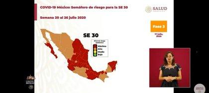 Gráfico del nuevo semáforo de la pandemia de coronavirus (Foto: SSa)