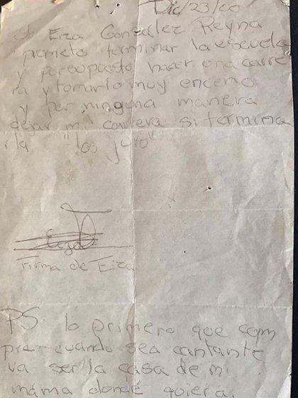 La carta que Eiza escribió a la edad de 10 años donde da pistas de su futuro (Foto: Eiza González)