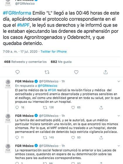 Así es como la FGR informó sobre el estado de salud de Emilio Lozoya.  (Foto: captura de pantalla)