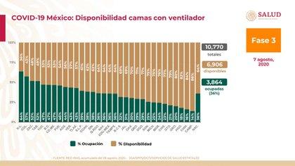 Gráfico de ocupación de camas con ventilador a nivel nacional (Foto: SSA)