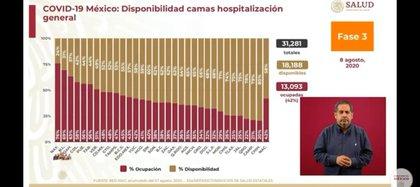 Tabla de la cantidad de camas disponibles por estado (Foto: SSa)